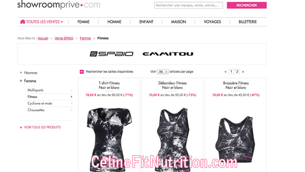 Vente privée vêtements fitness