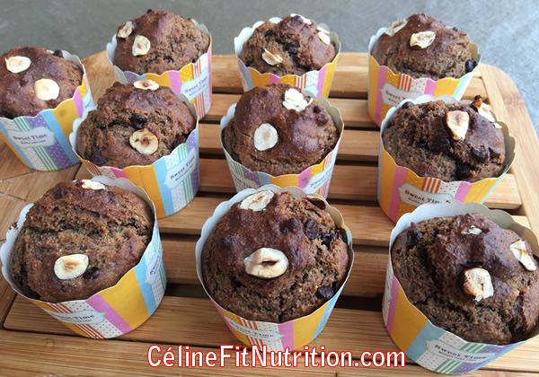 Muffins noisettes et pépites de chocolat healthy et vegan