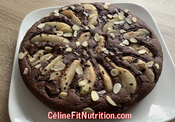 Moelleux poires chocolat heathy et vegan, sans sucre ajouté